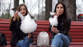 Flickvännen sitter på bänk och äter sockervadden lager videofilmer