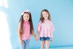 Flickvänsyster för två härlig liten flickor i rosa kläder arkivfoton