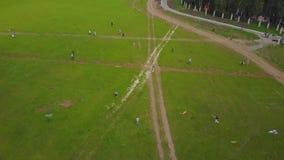 Flie людей змей на траве в летнем дне Дети группы летая змей внешний Змей летания в движении делая петли в сток-видео