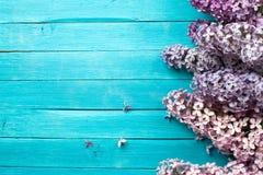 Flieder blüht Blumenstrauß auf hölzernem Planken-Hintergrund Stockbild