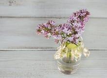 Flieder in einem transparenten Vase auf einem hölzernen Hintergrund Stockbilder
