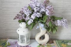 Flieder, Fliedern in einem Vase Stockbild