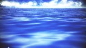 Fliege niedrig auf dem Ozean-Meerwasser-Niveau-Hintergrund lizenzfreie abbildung