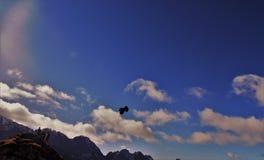 Fliegen über die Alpen Stockfoto