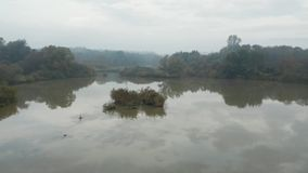 Fliegen über die Oberfläche von einem klaren reflektierenden See in einem Wald auf einem Frühherbstmorgen stock video
