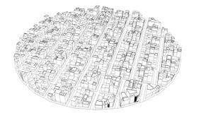 Fliegen über die schmutzige skizzierte Stadt auf weißer Tabelle, zum nahtloses zu schlingen stock abbildung