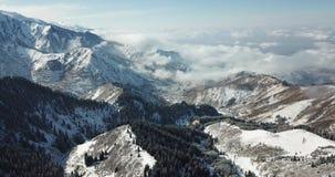 Fliegen über schneebedeckten Koniferenbäumen, schneeweißen Bergen und Wolken Schießen von oben mit einem Brummen stock footage