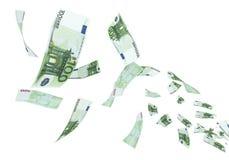 Fliegen Banknote des Euros 100 Stockbild
