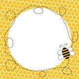 Fliegen-Biene in einem Bienenwaben-Rahmen Stockbild
