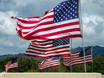 Fliegen der amerikanischen Flaggen stockfoto