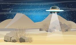 Fliegen der fliegenden Untertasse über der Wüste Raumreise Sahara Wüste Die Ankunft von Ausländern auf Erde lizenzfreie abbildung