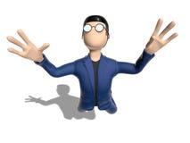 Fliegen der Zeichentrickfilm-Figur 3D im Himmel Stockbilder