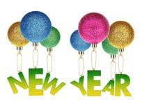 Fliegen des Aufschrift-neuen Jahres auf Weihnachtsspielwaren. Lizenzfreies Stockbild