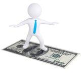 Fliegen des weißen Mannes 3d auf dem Dollarschein Stockbild