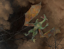 Fliegen Dragon Above Trees Illustration Lizenzfreie Stockfotos