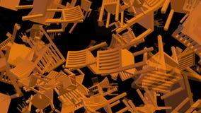 Fliegen, drehende Stühle in der orange Farbe auf Schwarzem lizenzfreie abbildung