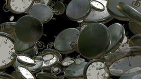 Fliegen, drehende Stoppuhren, Chronometer auf Schwarzem lizenzfreie abbildung
