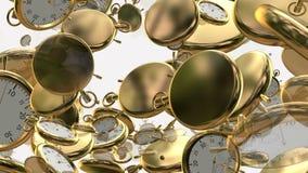 Fliegen, drehende Stoppuhren, Chronometer in der goldenen Farbe stock abbildung