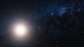 Fliegen durch ein Sternfeld und Sun im Weltraum stock abbildung
