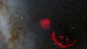 Fliegen durch einen roten Nebelfleck mit Milchstraße im Hintergrund stock video