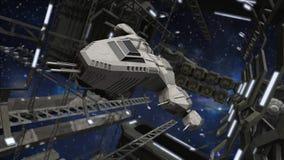 Fliegen in eine eindrucksvolle Raumstation Stockbild