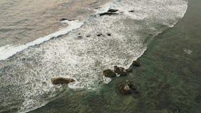 Fliegen eines Brummens über den großen Wellen stock video