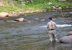 Fliegen-Fischen auf dem Gunnison-Fluss in Colorado stockfotos