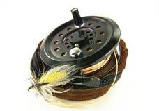 Fliegen-Fischen-Bandspule Stockbild