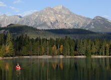 Fliegen-Fischen in den felsigen Bergen, Alberta, Kanada Stockbilder