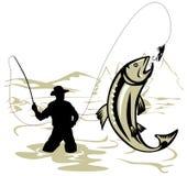 Fliegen-Fischer, der eine Forelle abfängt stock abbildung