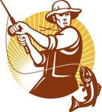 Fliegen-Fischer, der Retro- Holzschnitt fischt Lizenzfreie Stockfotos