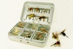 Fliegen-Fischerei-Kasten lizenzfreie stockfotos