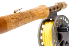 Fliegen-Fischereiausrüstung Rod und Spule Stockfotografie