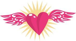 Fliegen-Herz beflügelt Liebe Stockfoto