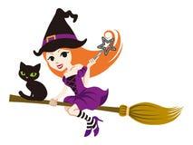 Fliegen-Hexe mit der schwarzen Katze, lokalisiert Stockfotos