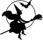 Fliegen-Hexen-Schattenbild lizenzfreie abbildung