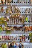 Fliegen-Kasten-Detail-nasse Fliegen-Nymphen lizenzfreies stockbild