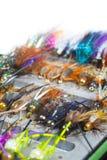Fliegen-Kasten-Detail-nasse Fliegen-Nymphen stockbilder