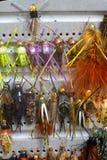Fliegen-Kasten-Detail-nasse Fliegen-Nymphen lizenzfreie stockfotografie