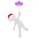 Fliegen mit helium ballons Stock Images