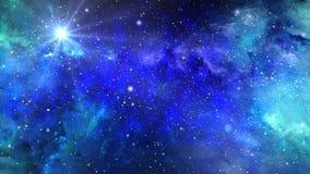 Fliegen in Raum durch Sterne und Nebelflecke lizenzfreie abbildung