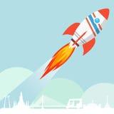 Fliegen Rocket Launch Lizenzfreie Stockfotos