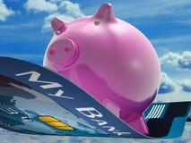Fliegen-Schwein zeigt Sparkassen-Fliegen lizenzfreie abbildung