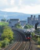 Fliegen Scotsman-Zug und Conwy-Schloss Stockfotografie