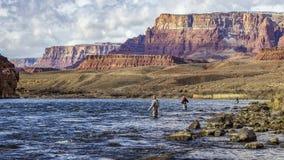 Fliegen Sie Fischen auf dem Colorado lizenzfreie stockbilder