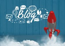 Fliegen und Blog 3D Rocket simsen mit Zeichnungsgraphiken Lizenzfreies Stockfoto