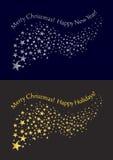 Fliegen von goldenen und silbernen Sternen mit Aufschriften Vektor Lizenzfreies Stockbild