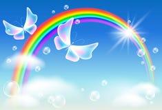 Fliegen von zwei Schmetterlingen im Himmel mit Regenbogen stock abbildung