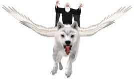 Fliegen-Wolf, Zauberer, Magie, lokalisiert stockfoto
