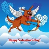Fliegenamorhund mit Bogen und arraw Lizenzfreie Stockbilder